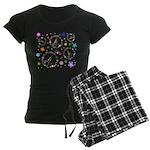 Peace symbols and flowers pat Women's Dark Pajamas