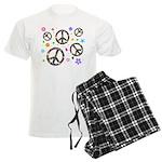 Peace symbols and flowers pat Men's Light Pajamas