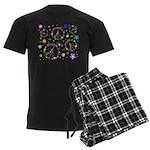 Peace symbols and flowers pat Men's Dark Pajamas