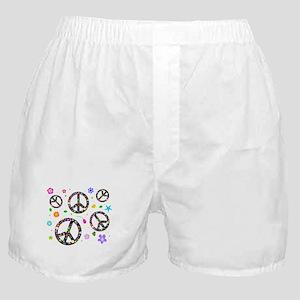 Peace symbols and flowers pat Boxer Shorts