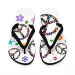 Peace symbols and flowers pat Flip Flops