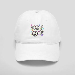 Peace symbols and flowers pat Cap