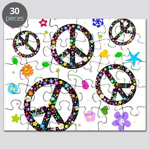 Peace symbols and flowers pat Puzzle