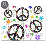 Peace symbols and flowers pat Puzzle