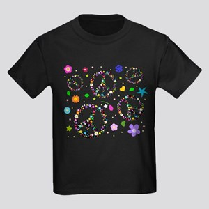Peace symbols and flowers pat Kids Dark T-Shirt