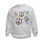 Peace symbols and flowers pat Kids Sweatshirt