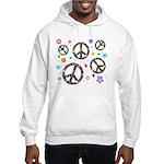 Peace symbols and flowers pat Hooded Sweatshirt