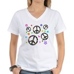Peace symbols and flowers pat Women's V-Neck T-Shi