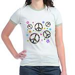 Peace symbols and flowers pat Jr. Ringer T-Shirt