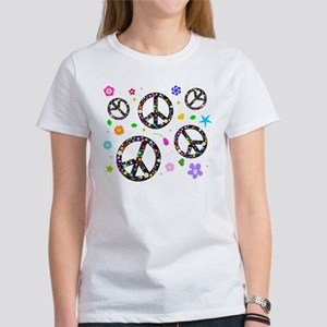 Peace symbols and flowers pat Women's T-Shirt