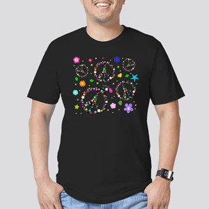 Peace symbols and flowers pat Men's Fitted T-Shirt