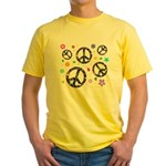 Peace symbols and flowers pat Yellow T-Shirt