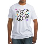 Peace symbols and flowers pat Fitted T-Shirt