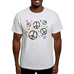 Peace symbols and flowers pat Light T-Shirt