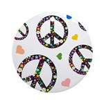 Peace signs and hearts patter Ornament (Round)