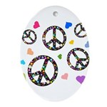 Peace signs and hearts patter Ornament (Oval)