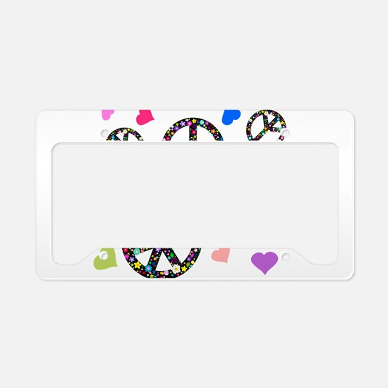 Peace signs and hearts patter License Plate Holder
