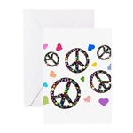 Peace signs and hearts patter Greeting Cards (Pk o