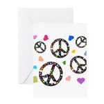Peace signs and hearts patter Greeting Card