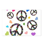 Peace signs and hearts patter Postcards (Package o