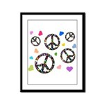 Peace signs and hearts patter Framed Panel Print