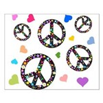 Peace signs and hearts patter Small Poster