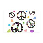 Peace signs and hearts patter 38.5 x 24.5 Wall Pee