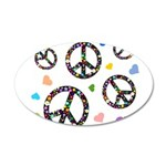 Peace signs and hearts patter 38.5 x 24.5 Oval Wal