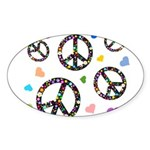 Peace signs and hearts patter Sticker (Oval 10 pk)