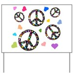 Peace signs and hearts patter Yard Sign
