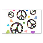 Peace signs and hearts patter Sticker (Rectangle)
