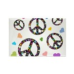 Peace signs and hearts patter Rectangle Magnet (10