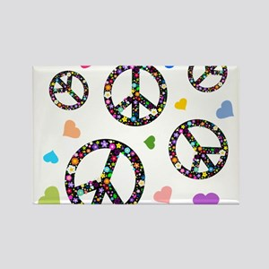 Peace signs and hearts patter Rectangle Magnet