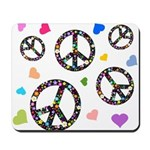 Peace signs and hearts patter Mousepad