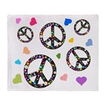 Peace signs and hearts patter Throw Blanket