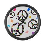 Peace signs and hearts patter Large Wall Clock