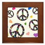 Peace signs and hearts patter Framed Tile