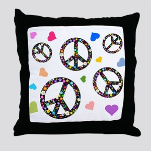 Peace signs and hearts patter Throw Pillow