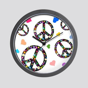 Peace signs and hearts patter Wall Clock