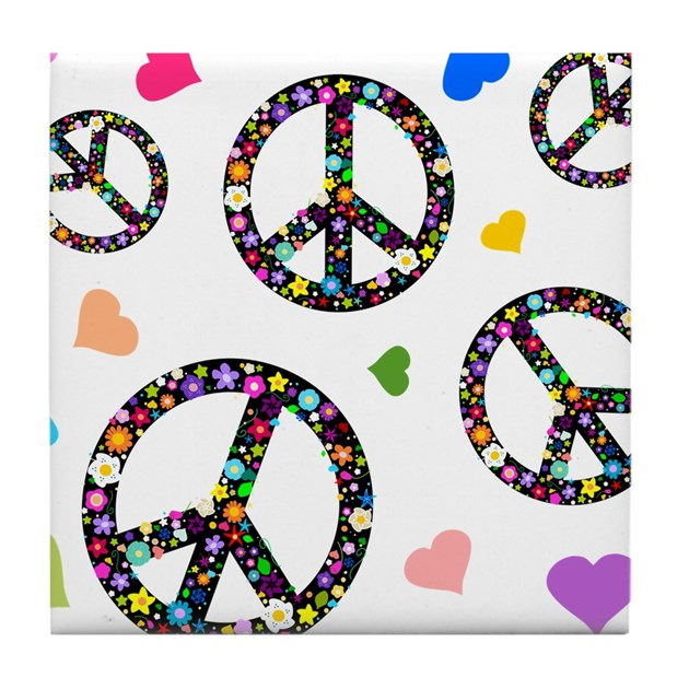Peace Signs And Hearts Patter Tile Coaster By Inspirationzstore