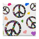 Peace signs and hearts patter Tile Coaster