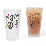 Peace signs and hearts patter Drinking Glass