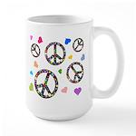 Peace signs and hearts patter Large Mug
