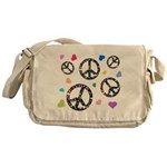 Peace signs and hearts patter Messenger Bag