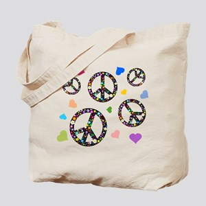 Peace signs and hearts patter Tote Bag
