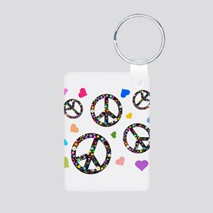 Peace signs and hearts patter Aluminum Photo Keych
