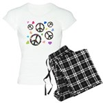 Peace signs and hearts patter Women's Light Pajama