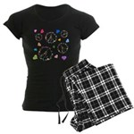 Peace signs and hearts patter Women's Dark Pajamas