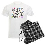 Peace signs and hearts patter Men's Light Pajamas
