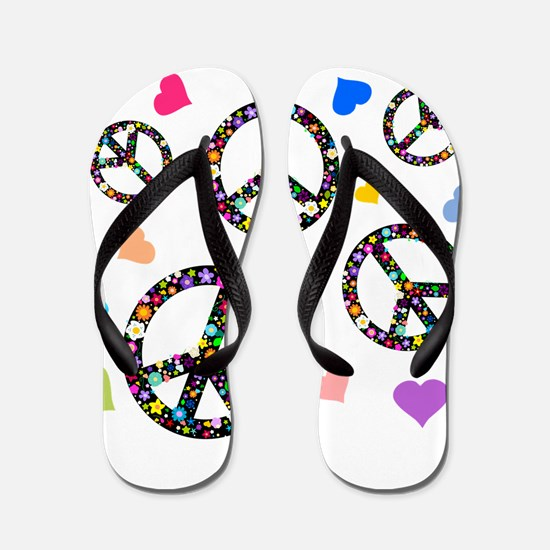 Peace signs and hearts patter Flip Flops